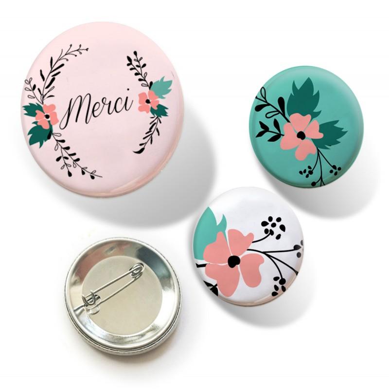 badges merci fleurs