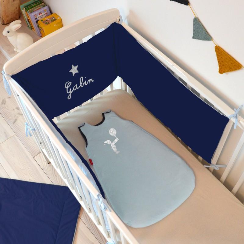 tour de lit personnalisé bleu ciel bleu foncé